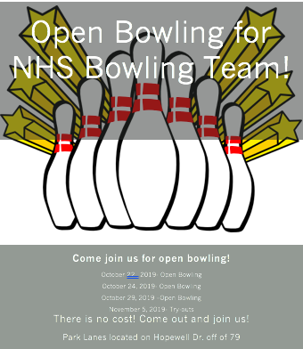 Open Bowling…Oct 22, 24, 29 @ Park Lanes (FREE)
