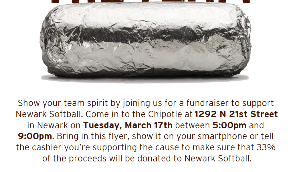 Softball Chipotle Fundraiser on March 17 from 5 PM-9 PM