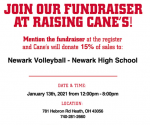 Newark Volleyball Fundraiser @ Raising Canes Jan. 13 from 12-8 PM