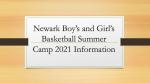 Newark Boys and Girls Basketball Summer Camp Information 2021