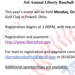 Baseball Fundraiser – Golf Outing on Monday, Oct 1st