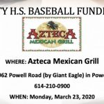 Baseball Fundraiser – Monday, March 23 at Azteca