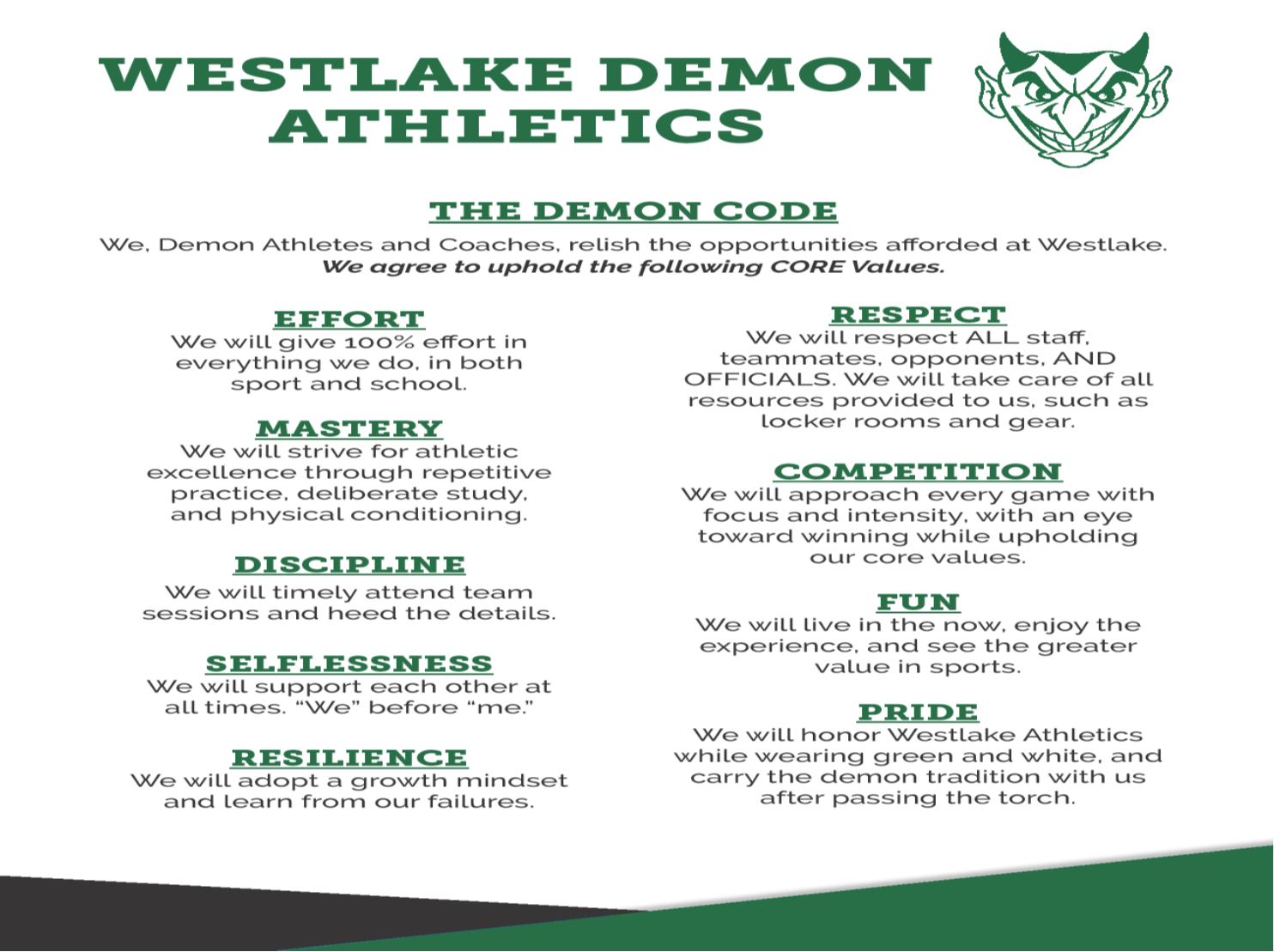 The Demon Code (#TDC)  Our Core Values