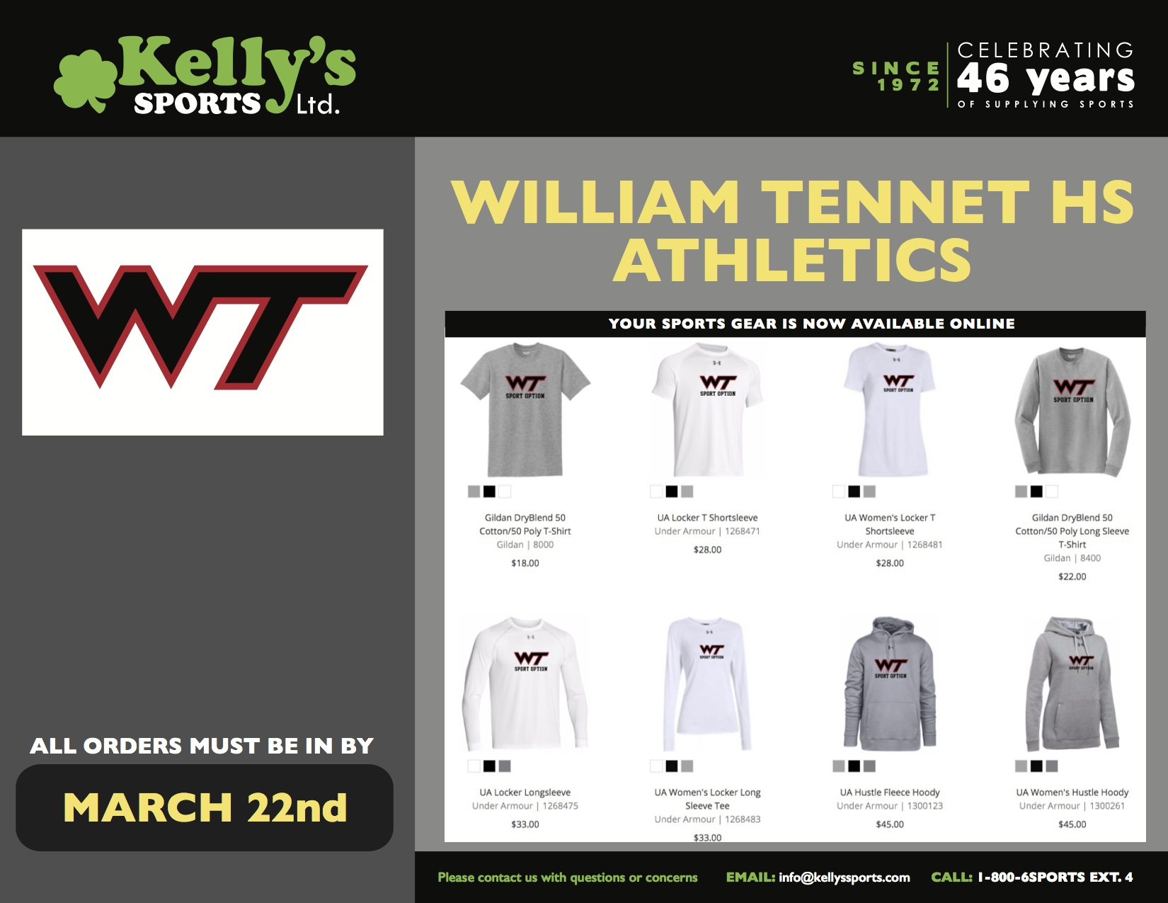 Order Your WT Spring Athletics Gear by March 22