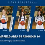 Girls Basketball defeats Ringgold, 55-16.