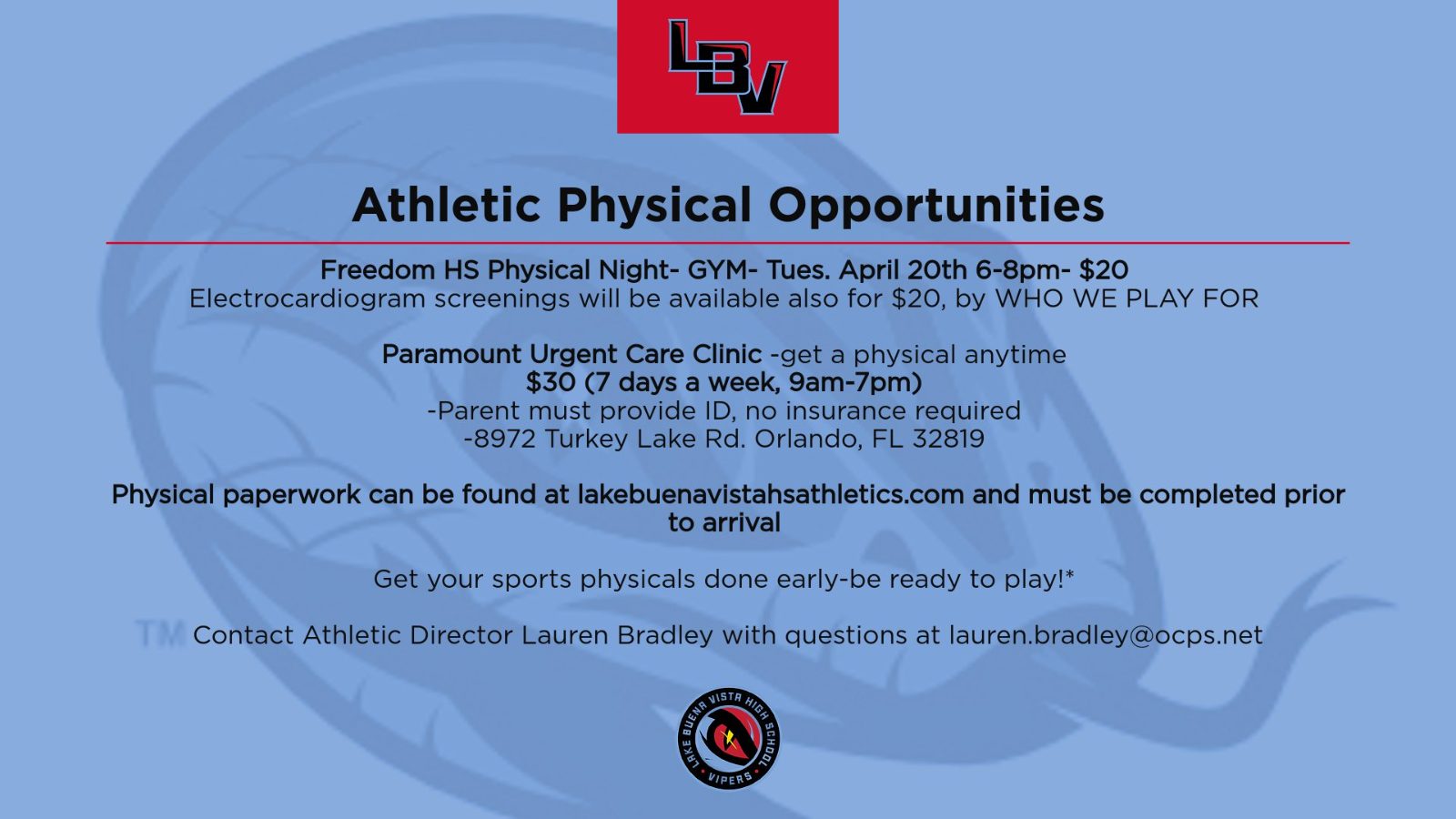 Upcoming Athletic Physical Opportunities