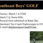 Boys Golf Info.  Season starts on Monday!