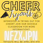 Cheer Tryout Information! April 8th and 9th!