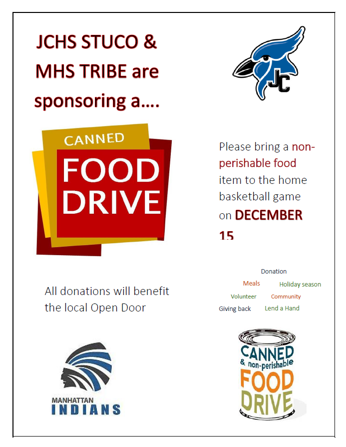 JCHS and MHS Canned Food Drive Collection
