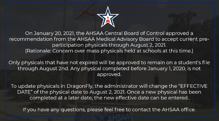ATTENTION ATHLETES WITH PHYSICALS EXPIRING JANUARY 31, 2021 THRU JULY 31, 2021