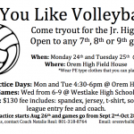Jr. High Volleyball Tryouts Mon 24th & Tues 25th