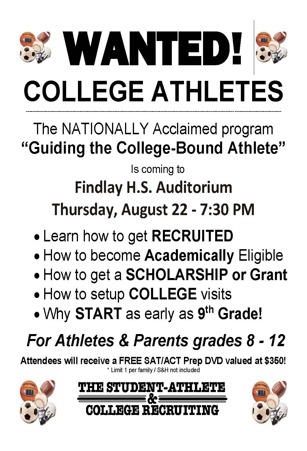 Free College Recruiting Seminar to be held at FHS on Aug. 22