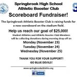 Scoreboard donations during parent drop-off!