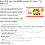 Boys Basketball – closed gym at Xfinity Center, limited spectators allowed
