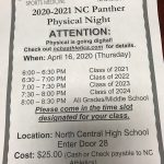 ATHLETIC PHYSICAL NIGHT INFORMATION