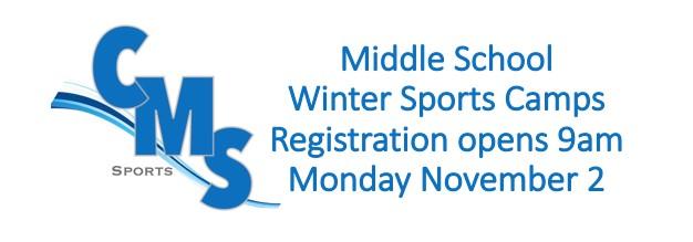 Middle School Winter Sports Registration Opens 11/2/20