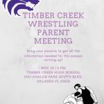 Wrestling Parent Meeting Nov 20th 6p