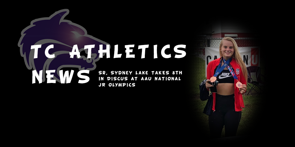 TC Athletics News | Sr, Sydney Lake Takes 8th in Discus at AAU National Jr. Olympics
