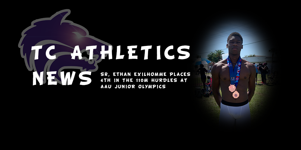 TC Athletics News | Sr, Ethan Exilhomme places 4th in 110M Hurdles at the AAU Jr. Olympics