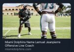 TC Alumni News | Lemuel Jeanpierre Named @MiamiDolphins Offensive Line Coach