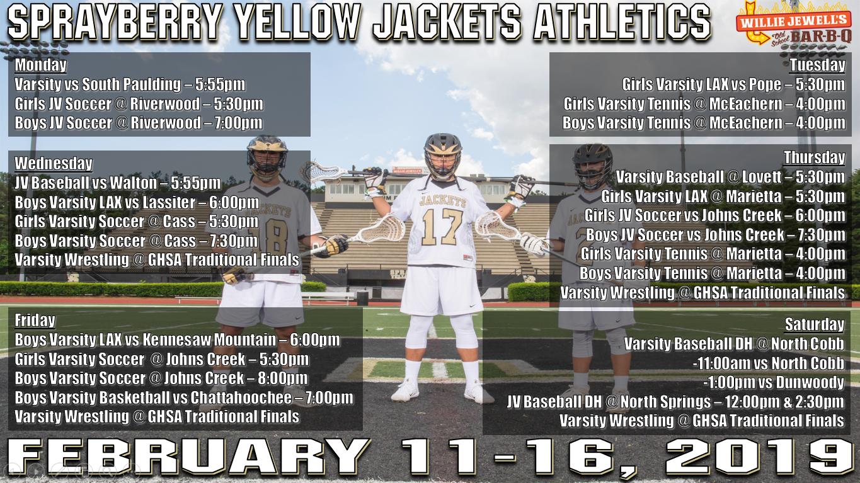 Athletics Calendar for February 11-16!