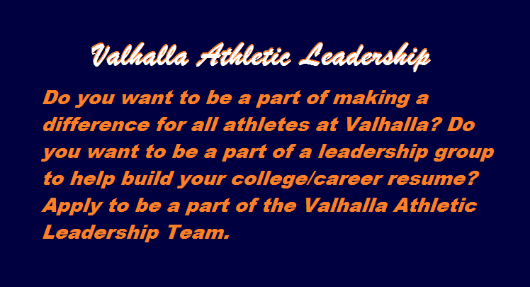 Valhalla Athletic Leadership Applications – Due June 1st