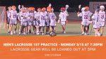 Men's Lacrosse begins Monday March 15th