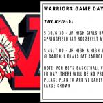 Warriors Game Day – Jan. 9