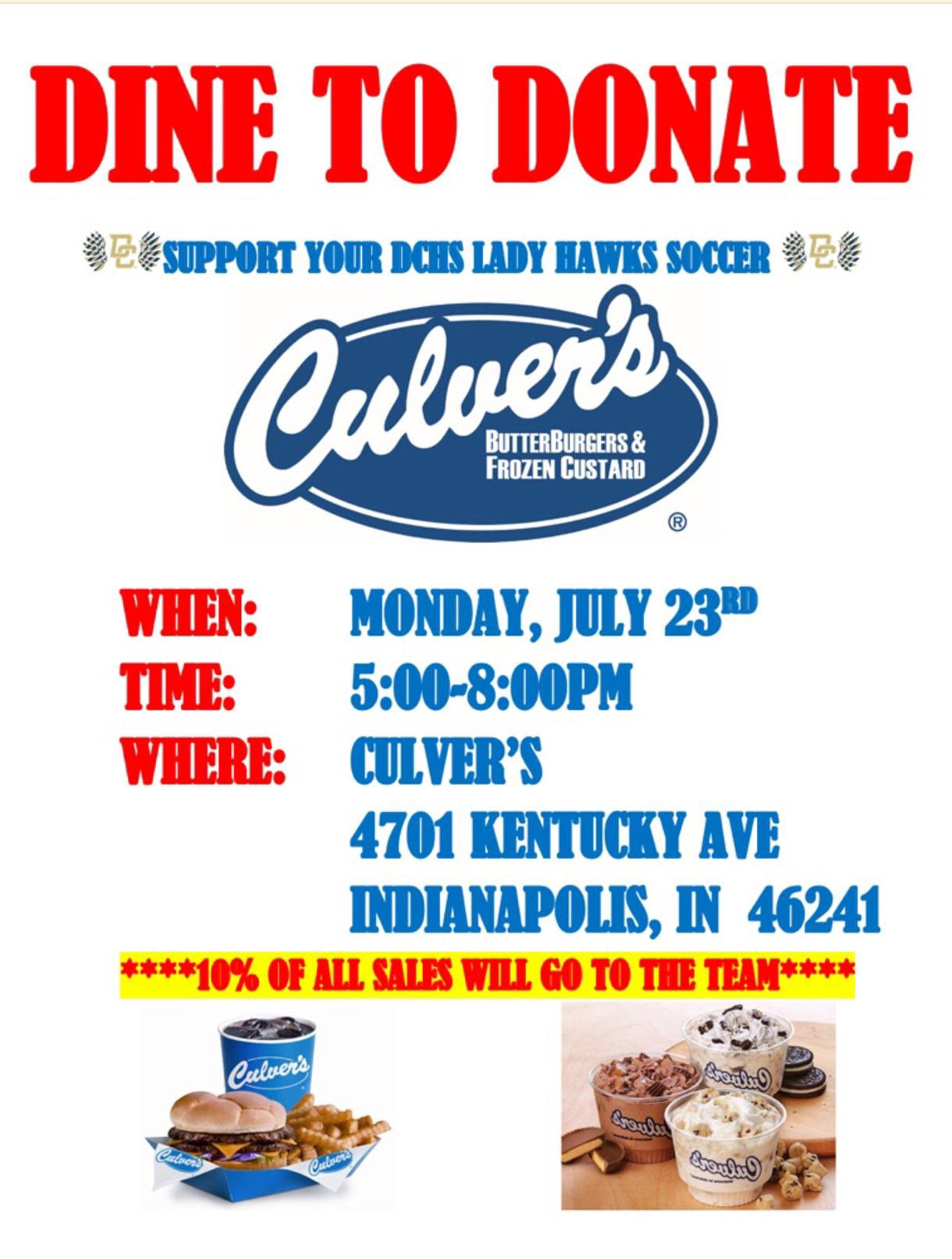 DCHS Girls Soccer Hosts Annual Culver's Dine & Donate 7/23