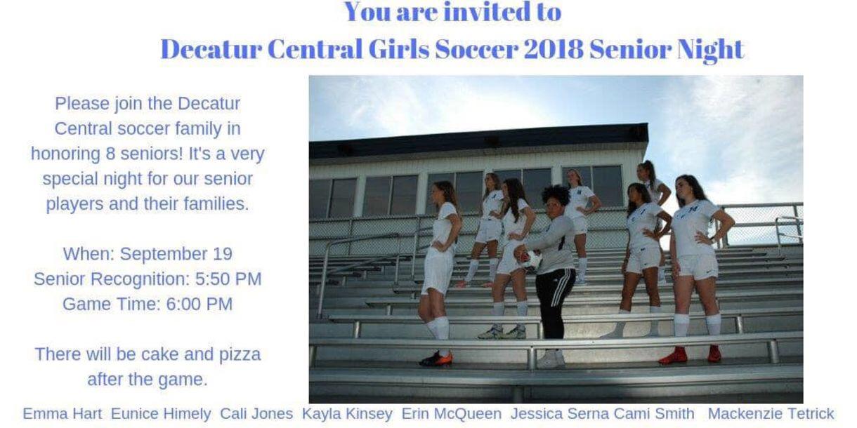 Girls Soccer Senior Night Tomorrow!