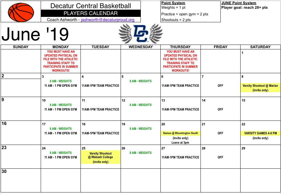 Boys Basketball 2019 Summer Workout Schedule