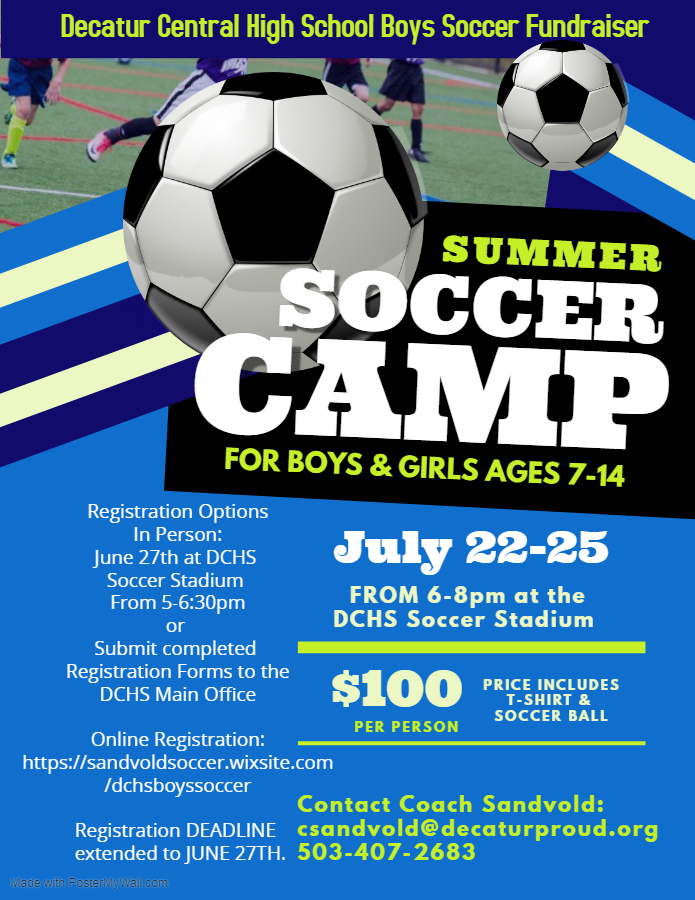 Youth Soccer Camp Registration Extended to June 27th