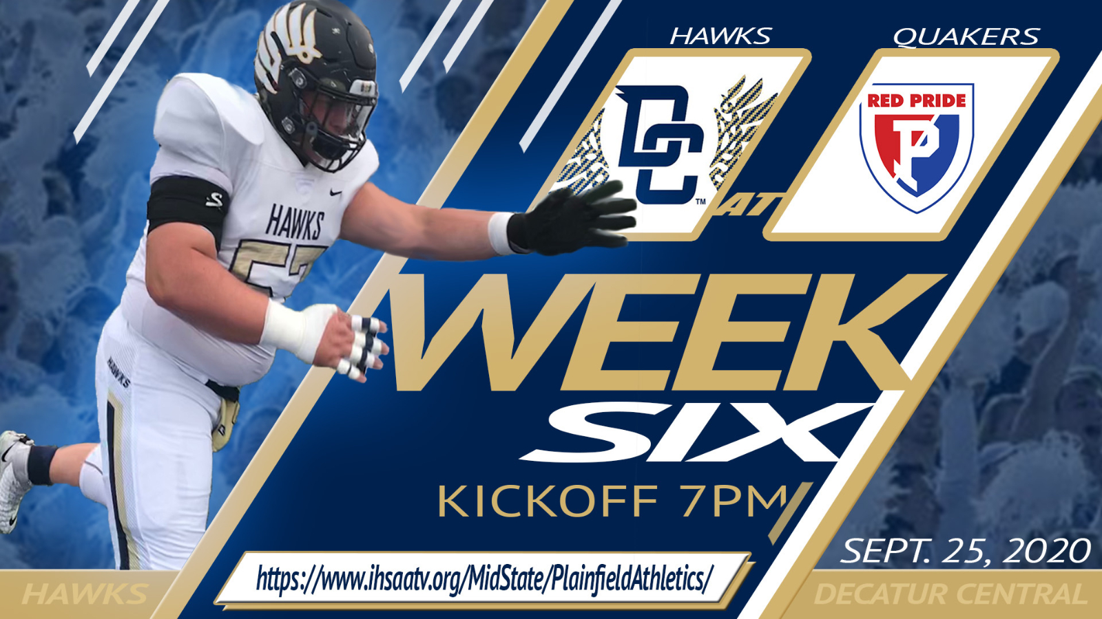 9/25/20- Decatur Central @ Plainfield- Varsity Football General Admission Tickets