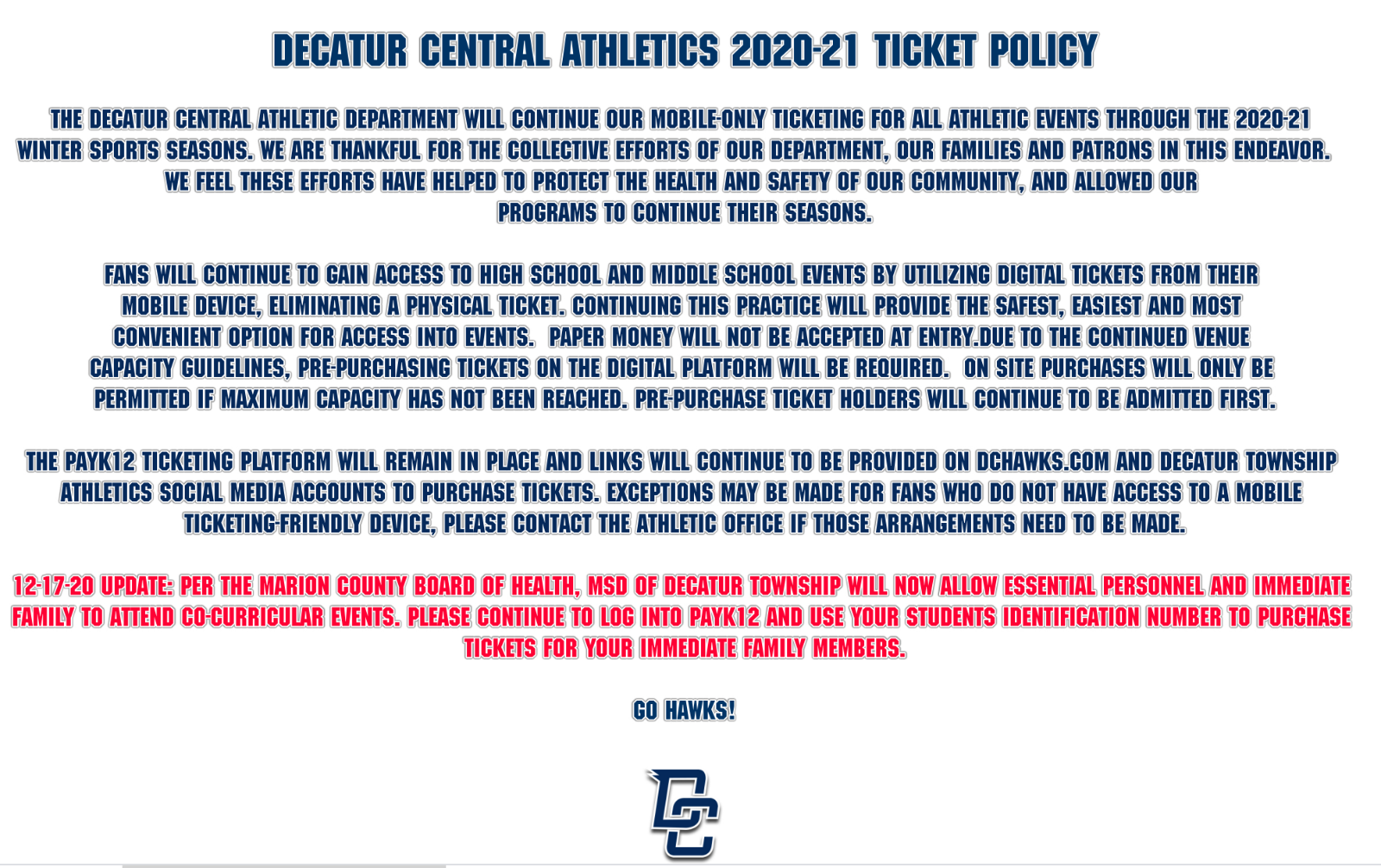 Updated Athletic Spectator Policy – 12-17-20