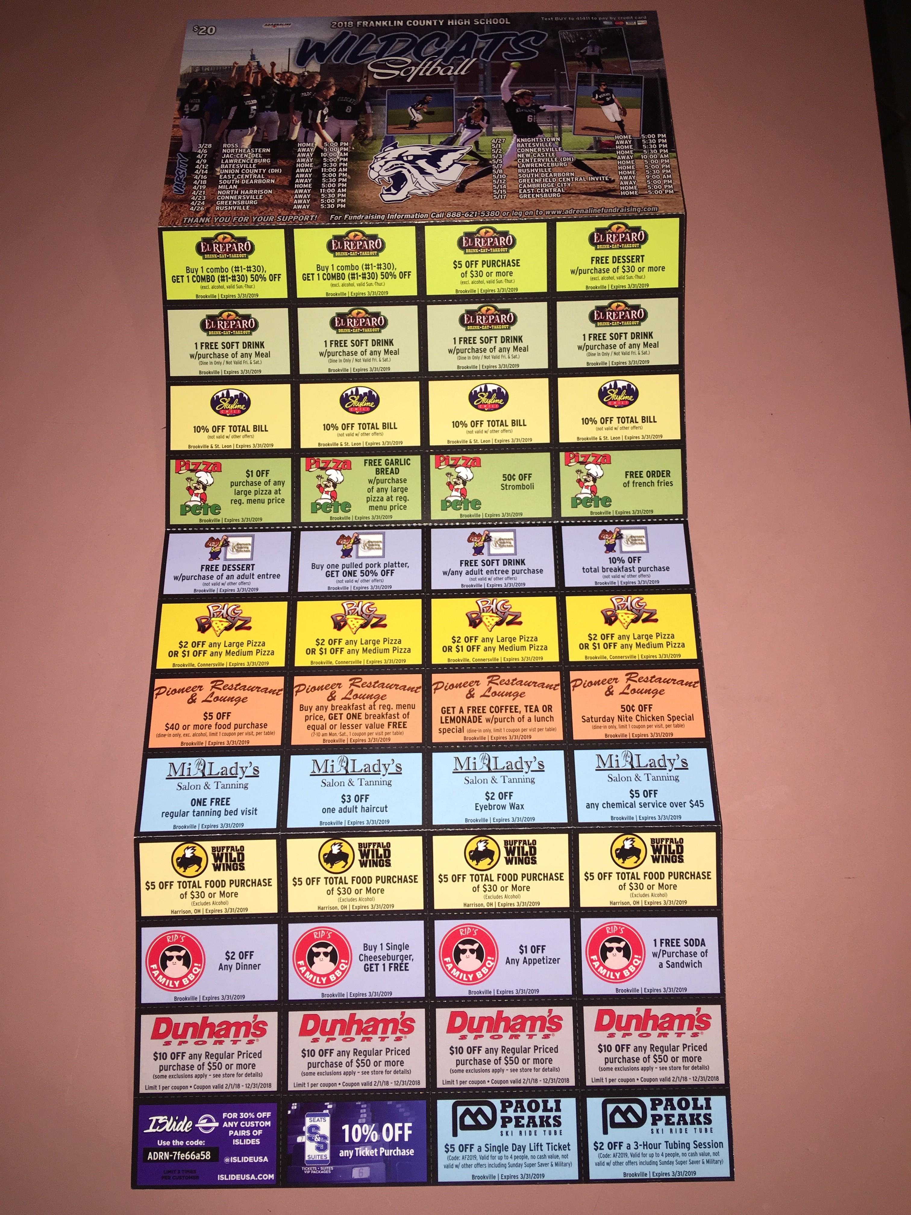 Wildcats Softball Coupon Sheet Fundraiser