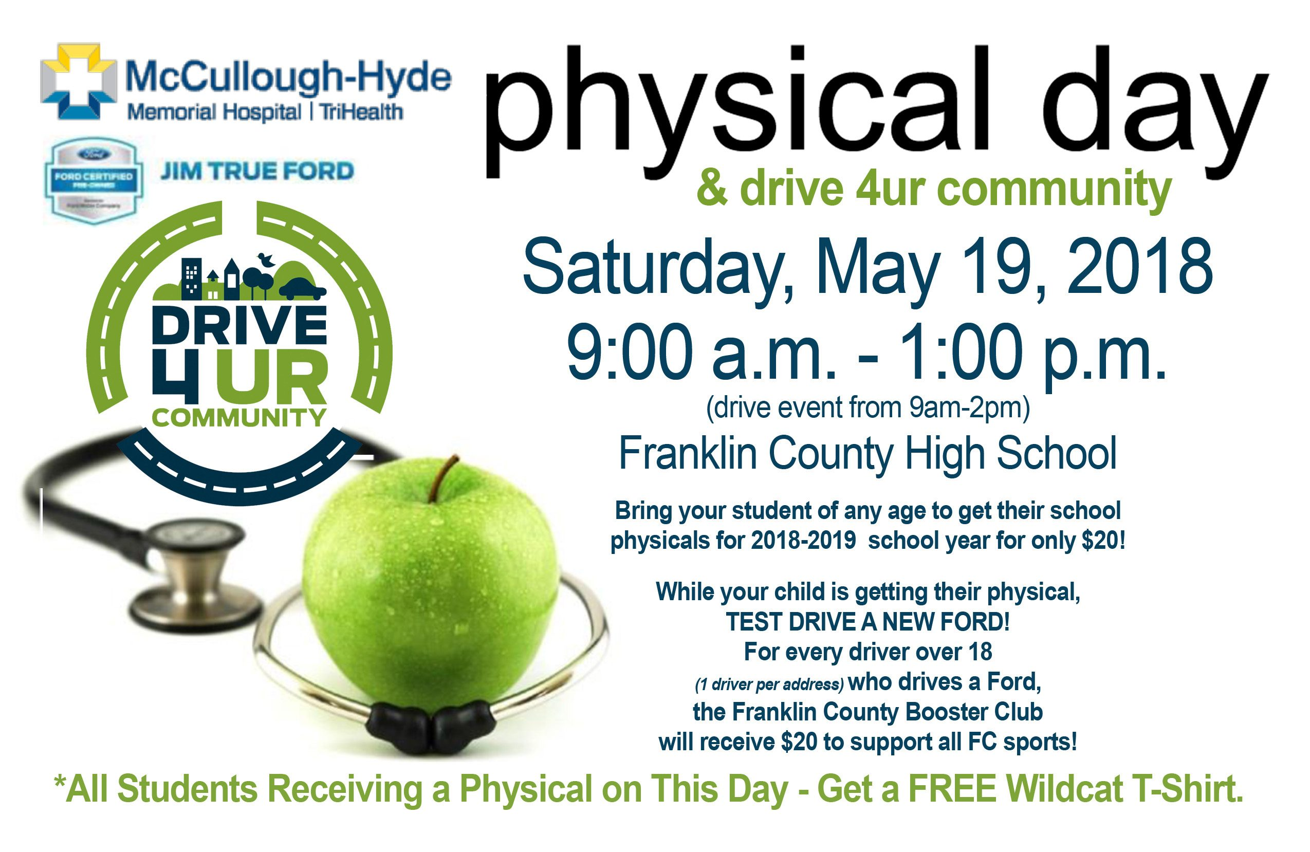 PHYSICAL DAY AND DRIVE FOR YOUR COMMUNITY:  SATURDAY, MAY 19TH