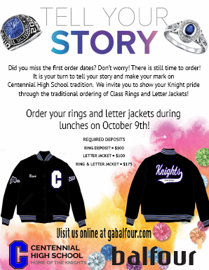 a varsity letter winner and you would like to purchase a letter jacket balfour will be in the centennial cafeteria on tuesday during all 3 lunches