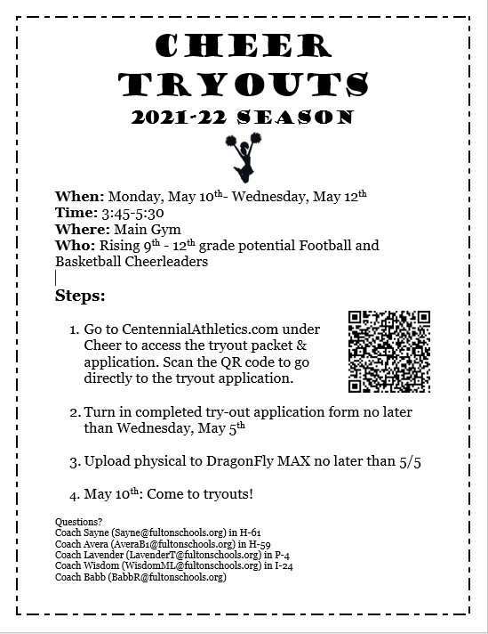CHS Cheer Tryout Information 2021-22