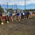 The groundbreaking for the new softball & baseball press boxes