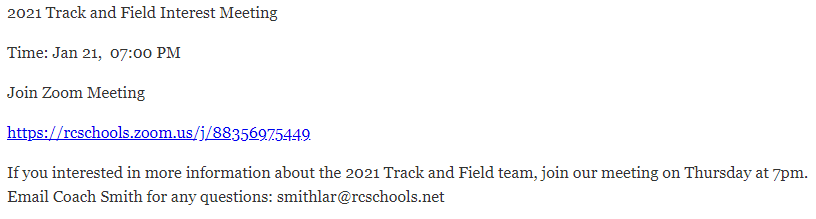 2021 Track and Field Interest Meeting 01/21 @ 7pm
