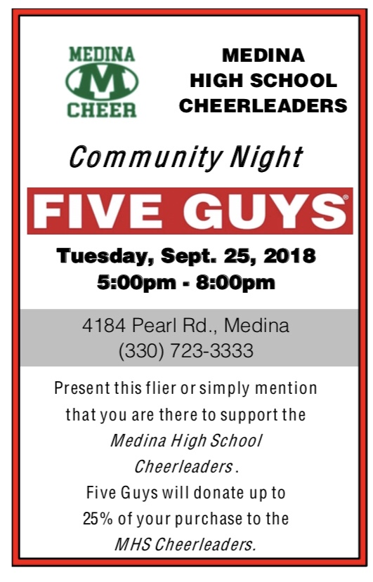 Cheerleading Dine to Donate at Five Guys on 9/25
