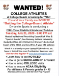 "FREE Virtual ""Eligibility & Scholarship"" Workshop from Dynamite Sports – 7/21 @ 8pm"