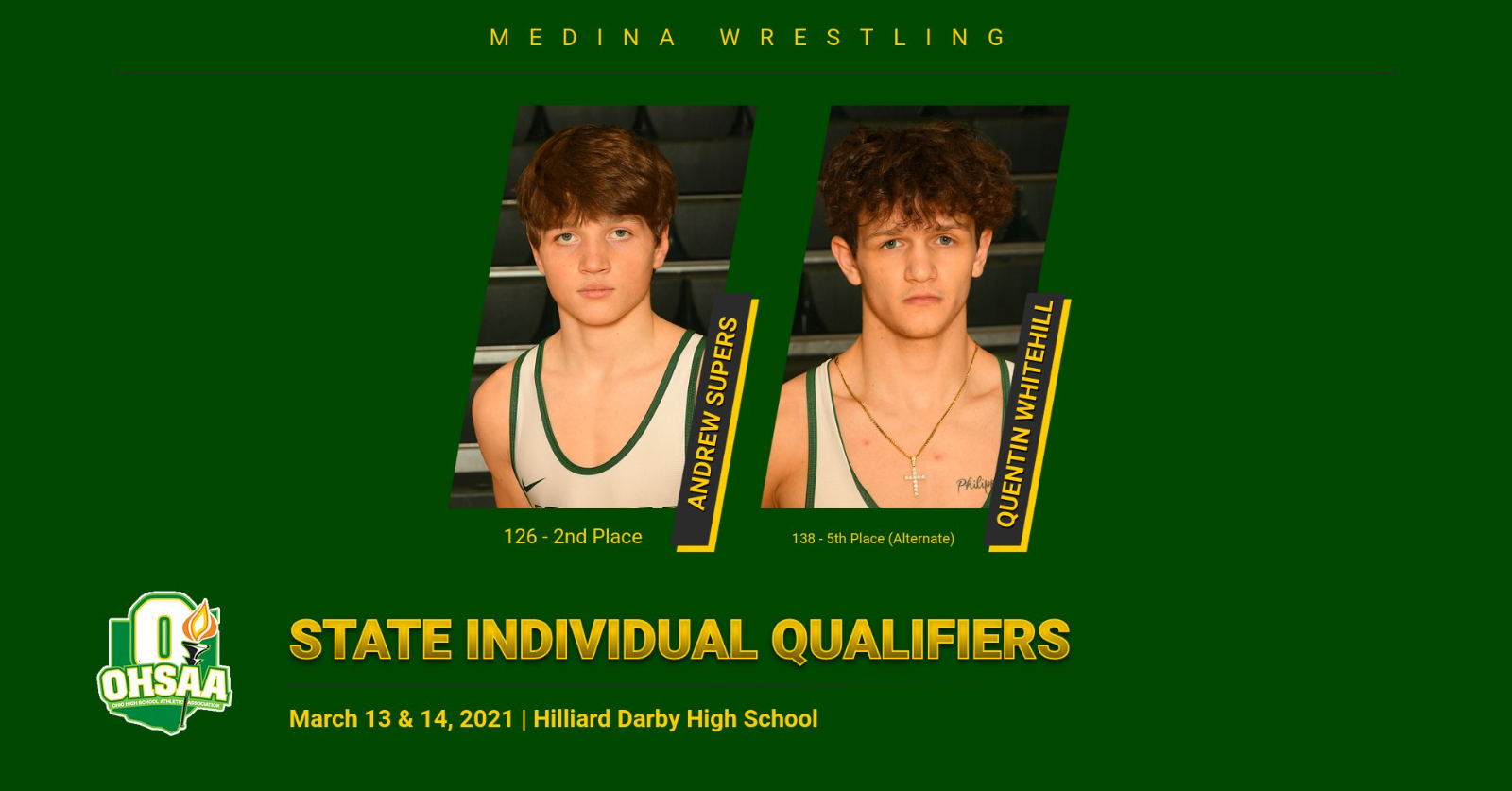 OHSAA District Wrestling Placers & State Qualifiers