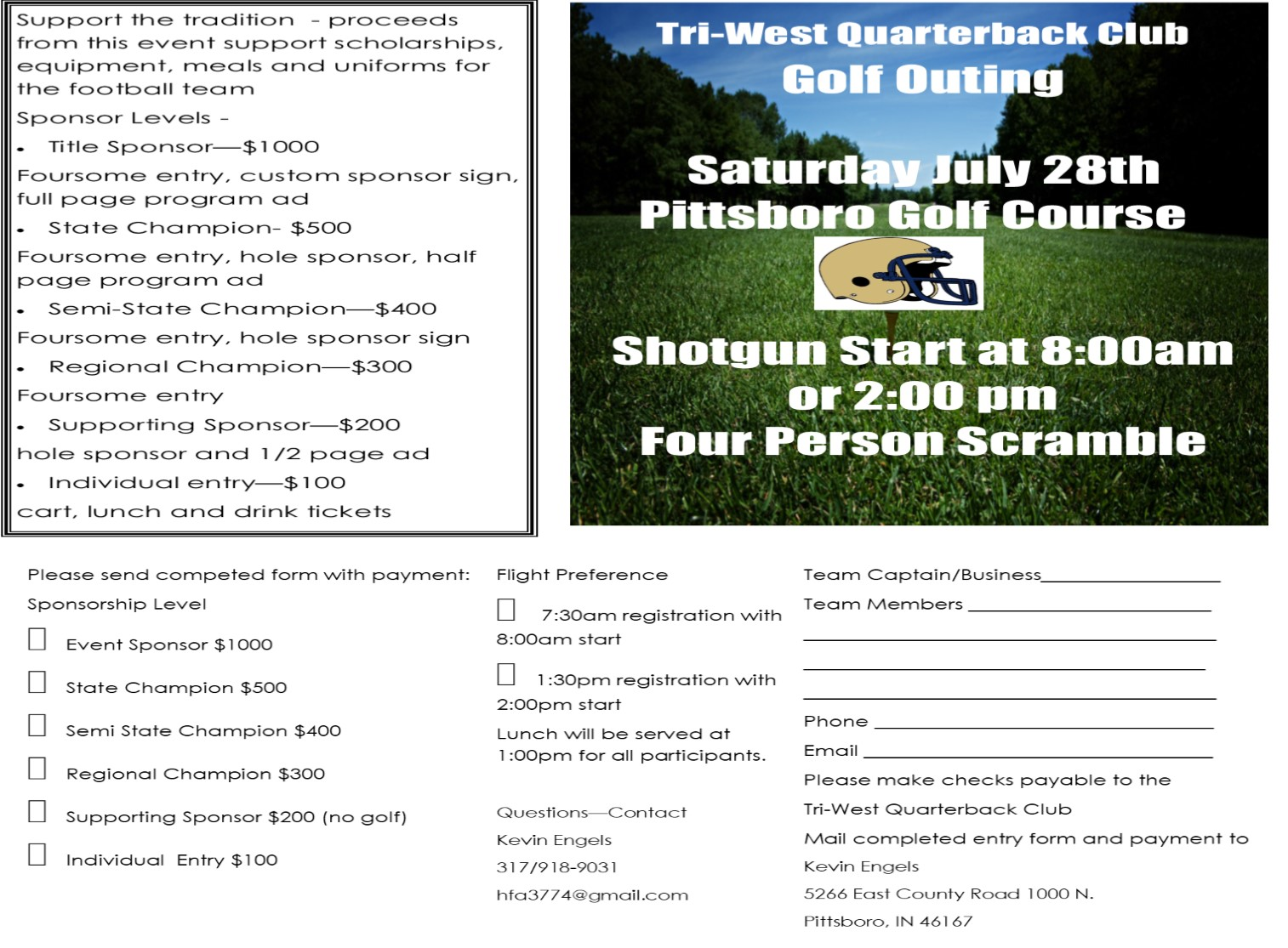 Tri-West Quarterback Club Golf Outing–July 28th