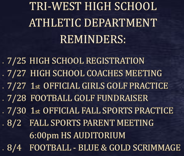 ATHLETIC DEPARTMENT REMINDERS