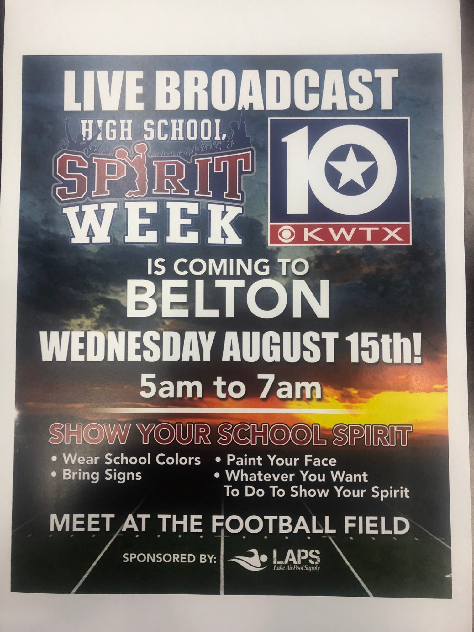 KWTX Spirit Week will be at Tiger Field on Wednesday August 15, 2018