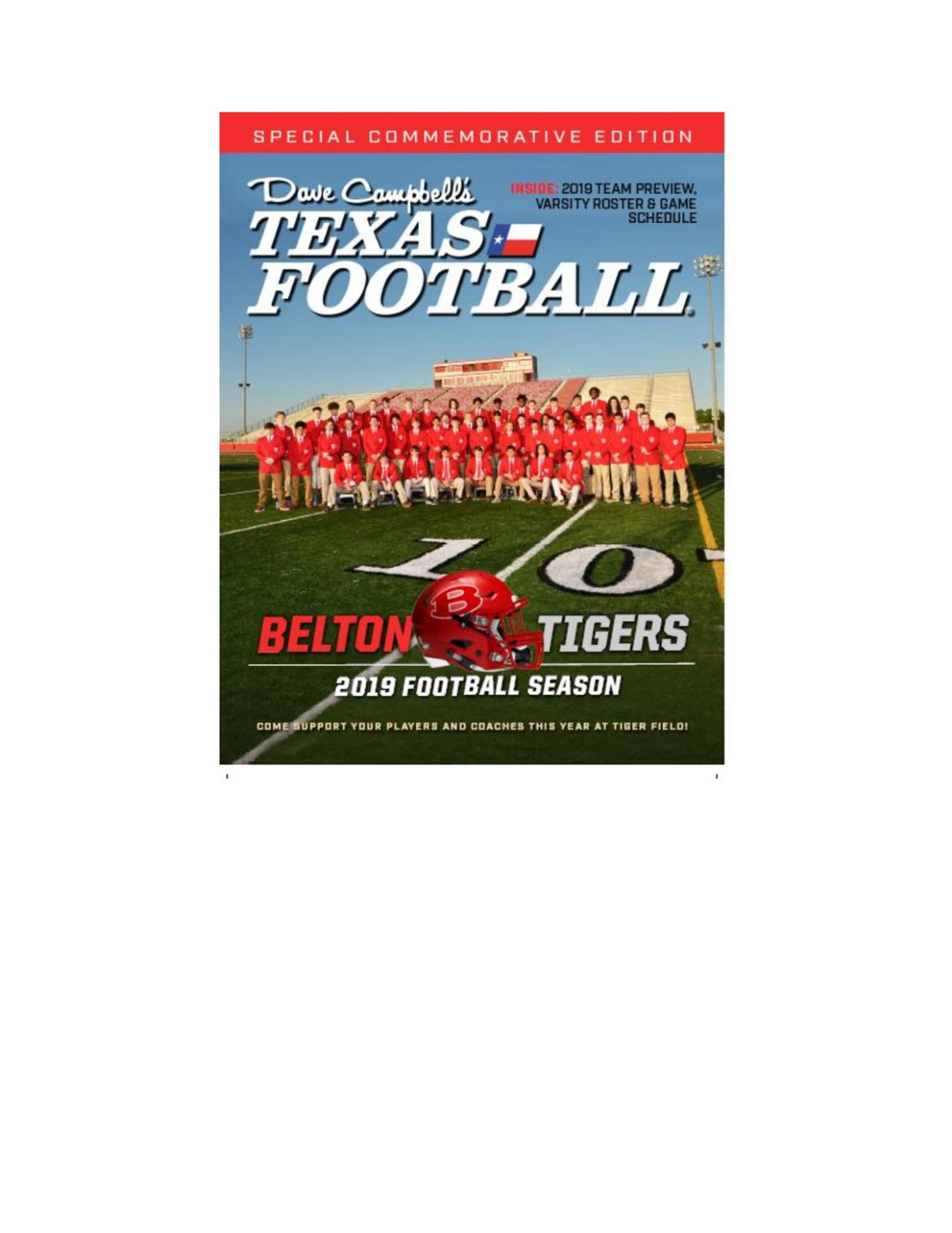 Dave Campbell Texas Football Magazine featuring your Belton Tigers