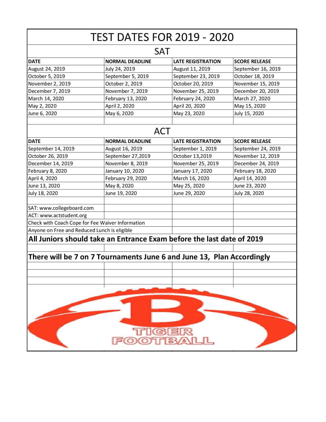 2019-2020 College Bound Test Dates