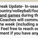 Athletic Fall Break Update Oct 7-12, 2019