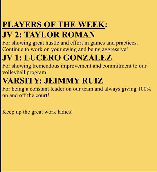 Lady Lions Volleyball Player's of the Week